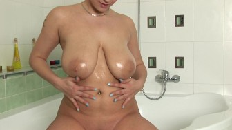 Liana solo in the bathroom