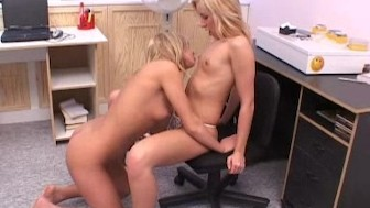 Gorgeous blondes Susana and Sabrina playing in the office