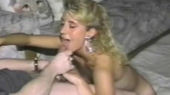 Masturbating blonde pounded by a real cock