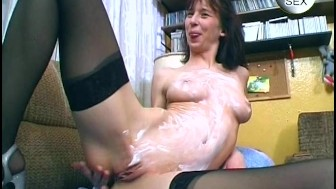 Cutie plays with lotion and dildos - Sascha Production