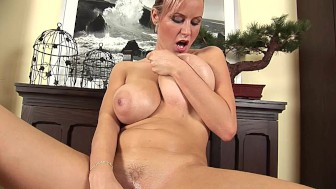 Busty blonde Rachel has some fun with a toy - CzechSuperStars