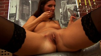 Sandy sits on a dildo - CzechSuperStars