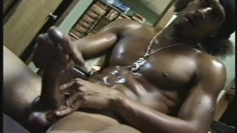 Ghetto thug works his meat to straight porn