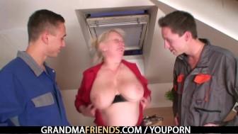 Granny takes two cocks