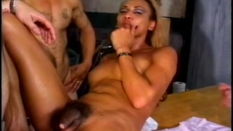 Sexy foursome for this Tranny - Gentlemens Video