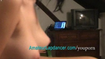 Lapdance of a teen girl turns to a finger fuck