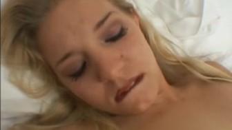 Skinny blonde masturbates