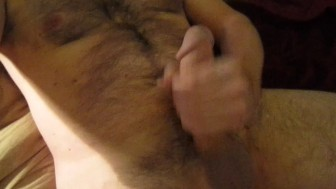 Stoking my big cock on camera