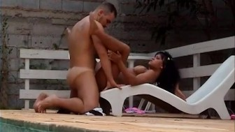 Sexy tanned Latina fucked next to the pool - Venus Digital