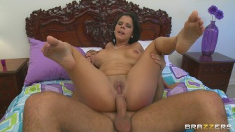Big tit latina caught masturbating takes anal ass
