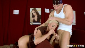 Big-tit squirting blonde harassed in porn cinema and fucks big dick