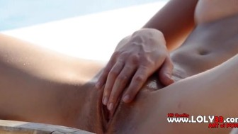 absolutly hot blonde fingering her pussy