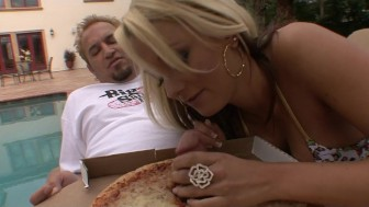 Horny big-tit hot blonde slut fucks pizza delivery boy's hard dick
