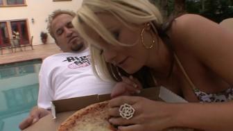 Horny big-tit hot blonde slut fucks pizza delivery boy's hard dick