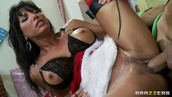 Hot big-tit brunette MILF just wants an elf's big dick for Xmas