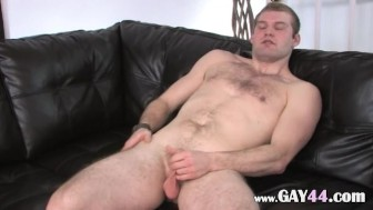 Ultra small penis on the leather sofa