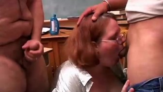 Cute chubby redhead sucks two cocks