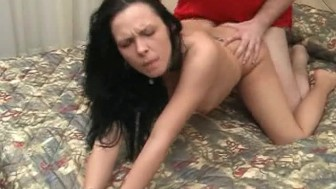 Skinny brunette gets banged real good