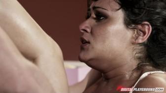 Gorgeous big-tit brunette slut fucked by big hard-dick to orgasm