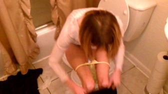 skinny housewife caught pissing