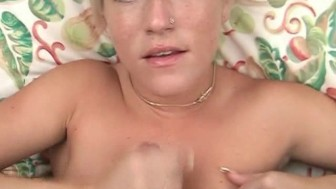 Blonde beauty goes down on small penis