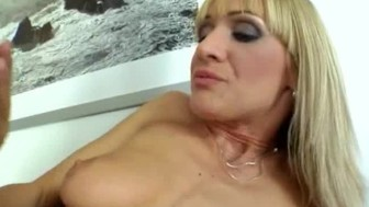 Czech blond bitch fucked over the table