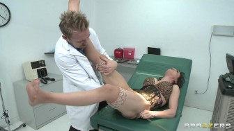 Slutty brunette Cytherea squirts while riding doctor's big-cock
