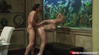 Stunning natural-tit girlfriend Kayden Kross rides dick to orgasm
