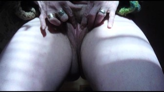 Hairy mature wife rubs clit