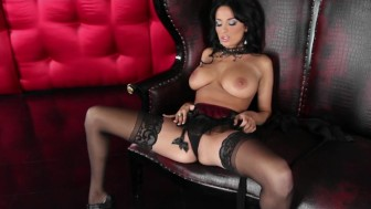 Stunning lingerie clad Anissa Kate strips down rubs her pussy