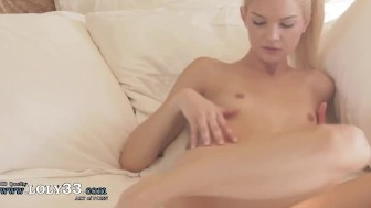 blonde riding on big natural toy