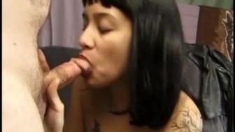 Cute half Asian gets cum all over her nipple piercings!