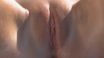 Huge red vibrator in shaved girly pussy