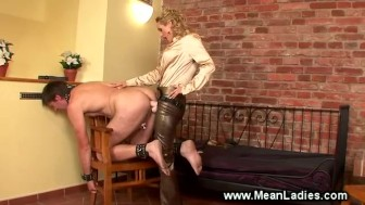 Mistress douses slaves balls in hot wax