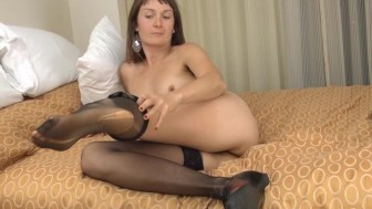 Hairy woman Charlotte B's stocking rub down