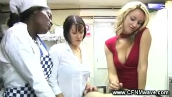 Chefs give hot handjob to lucky guy