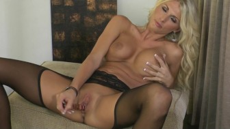 HOT blond MILF Alicia Secrets teases & masturbates in stockings