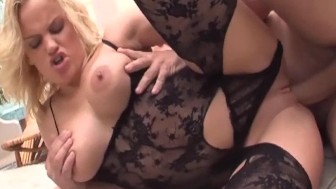 Blonde milf fucking in a bodystocking and heels