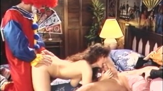 Guys in mask double fuck brunette