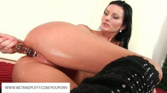 oiled up pussy gets fingered