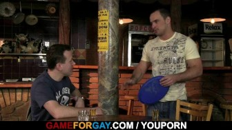 Bartender gets his cock sucked and ass fucked