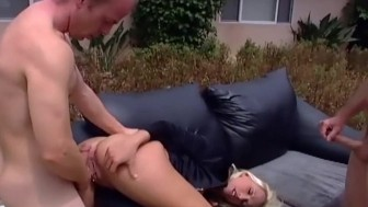 Female officer in uniform gets DPed in stockings