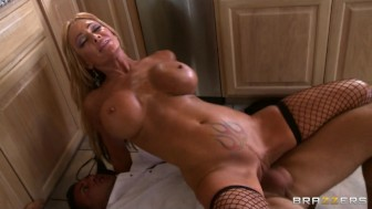 Busty blond MILF Houston takes a big-dick at a formal diner party