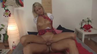 Pinky June fucked by pizza delivery boy