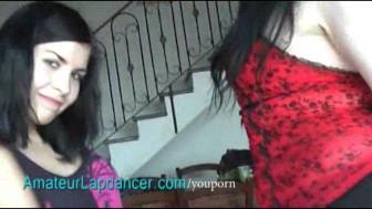 Gothic lesbians lapdance on horny guy