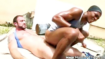 Eager thug rides a white hard dick for some extra cash