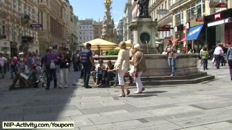 Sweet slim babe mina has fun on public streets