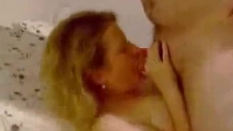 Nasty girl eating cock in home video
