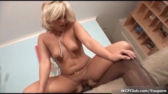 Horny blonde bitch goes crazy sucking on a big black cock