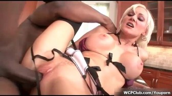 Busty blonde bitch gets her horny pussy fucked hard by a big black cock
